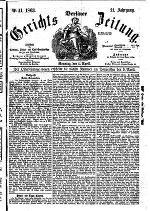 Berliner Gerichts-Zeitung vom 05.04.1863