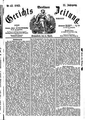 Berliner Gerichts-Zeitung vom 11.04.1863