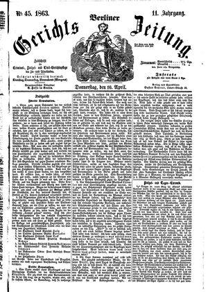 Berliner Gerichts-Zeitung vom 16.04.1863