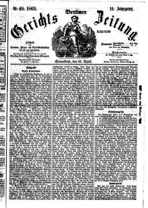 Berliner Gerichts-Zeitung vom 25.04.1863