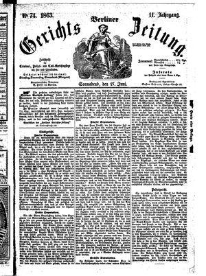 Berliner Gerichts-Zeitung vom 27.06.1863