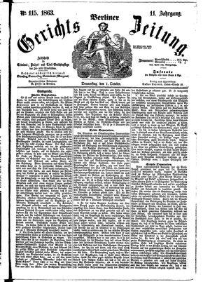Berliner Gerichts-Zeitung vom 01.10.1863