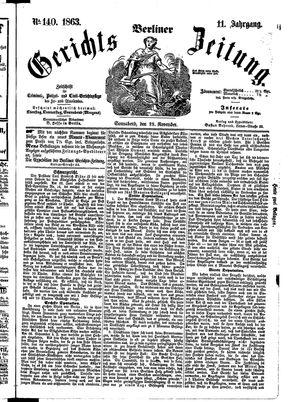 Berliner Gerichts-Zeitung vom 28.11.1863