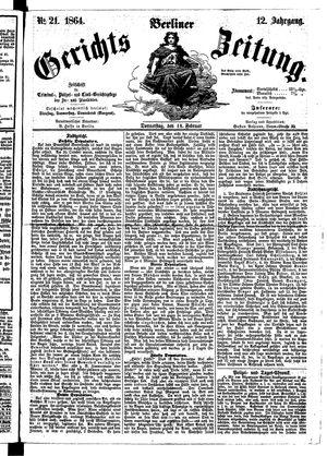 Berliner Gerichts-Zeitung vom 18.02.1864