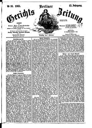 Berliner Gerichts-Zeitung vom 07.02.1865