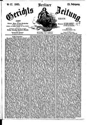 Berliner Gerichts-Zeitung vom 09.02.1865