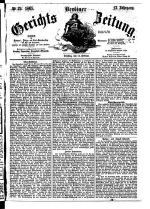 Berliner Gerichts-Zeitung on Feb 14, 1865