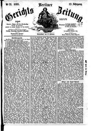 Berliner Gerichts-Zeitung vom 18.02.1865