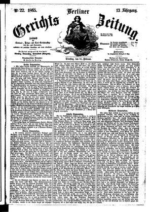 Berliner Gerichts-Zeitung vom 21.02.1865