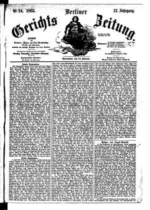 Berliner Gerichts-Zeitung vom 25.02.1865