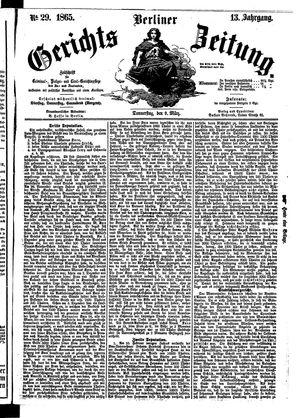 Berliner Gerichts-Zeitung vom 09.03.1865