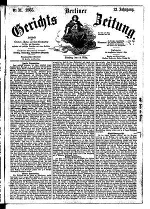 Berliner Gerichts-Zeitung vom 14.03.1865