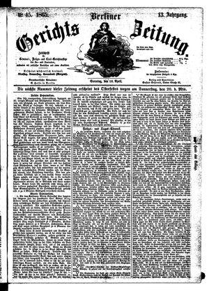 Berliner Gerichts-Zeitung vom 16.04.1865