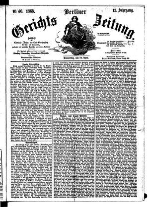 Berliner Gerichts-Zeitung vom 20.04.1865