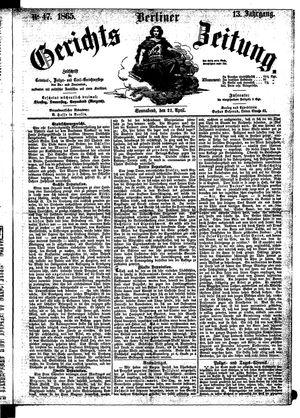 Berliner Gerichts-Zeitung vom 22.04.1865