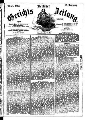 Berliner Gerichts-Zeitung vom 20.05.1865