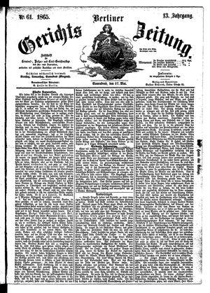 Berliner Gerichts-Zeitung vom 27.05.1865