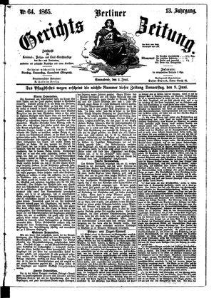 Berliner Gerichts-Zeitung vom 03.06.1865