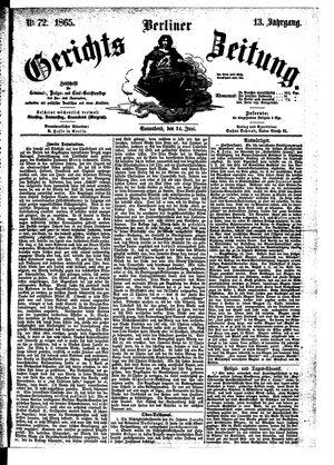 Berliner Gerichts-Zeitung vom 24.06.1865