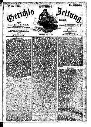 Berliner Gerichts-Zeitung vom 01.07.1865