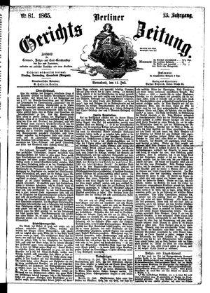 Berliner Gerichts-Zeitung vom 15.07.1865