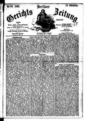 Berliner Gerichts-Zeitung vom 03.08.1865