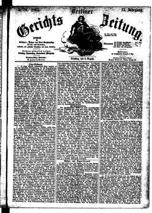 Berliner Gerichts-Zeitung vom 08.08.1865