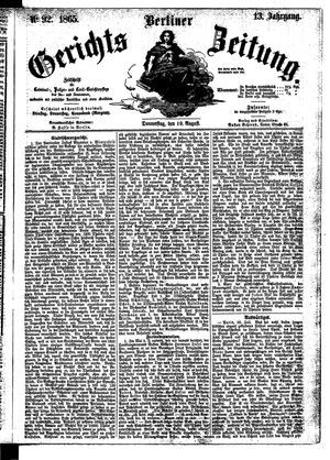 Berliner Gerichts-Zeitung vom 10.08.1865
