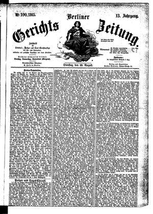 Berliner Gerichts-Zeitung vom 29.08.1865