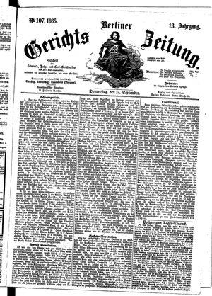 Berliner Gerichts-Zeitung vom 14.09.1865