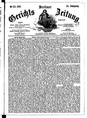 Berliner Gerichts-Zeitung vom 23.09.1865