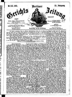 Berliner Gerichts-Zeitung vom 28.09.1865