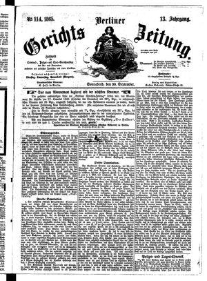 Berliner Gerichts-Zeitung vom 30.09.1865