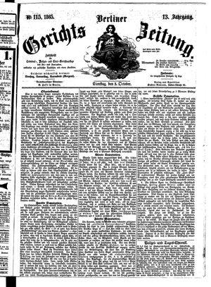 Berliner Gerichts-Zeitung vom 03.10.1865