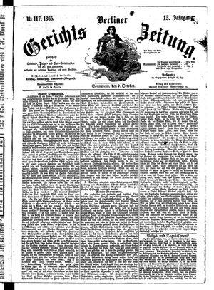Berliner Gerichts-Zeitung vom 07.10.1865
