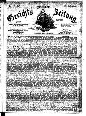 Berliner Gerichts-Zeitung vom 30.11.1865