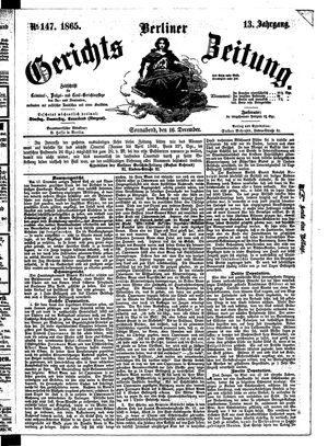 Berliner Gerichts-Zeitung vom 16.12.1865
