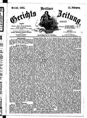 Berliner Gerichts-Zeitung vom 21.12.1865