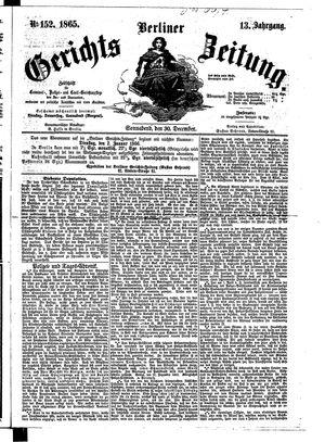 Berliner Gerichts-Zeitung vom 30.12.1865