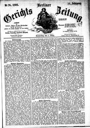 Berliner Gerichts-Zeitung vom 01.03.1866