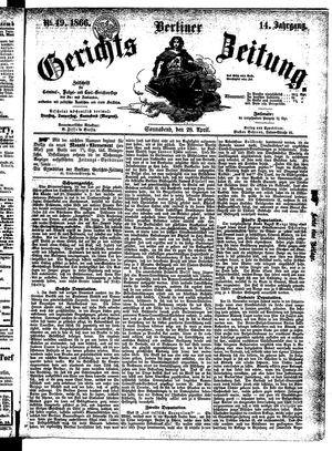 Berliner Gerichts-Zeitung vom 28.04.1866