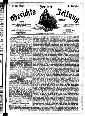 Berliner Gerichts-Zeitung vom 18.08.1866