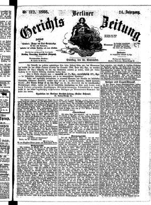 Berliner Gerichts-Zeitung vom 25.09.1866