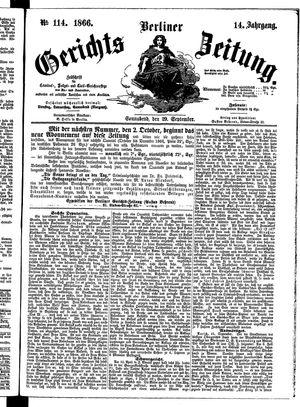 Berliner Gerichts-Zeitung vom 29.09.1866