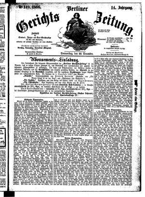 Berliner Gerichts-Zeitung vom 20.12.1866