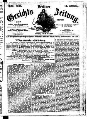 Berliner Gerichts-Zeitung vom 25.12.1866