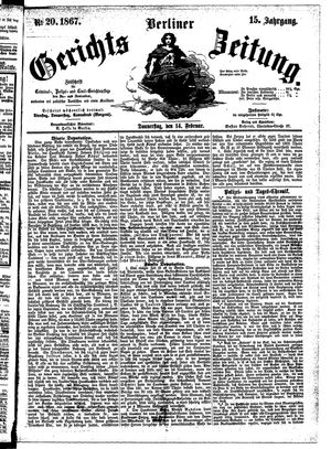 Berliner Gerichts-Zeitung on Feb 14, 1867