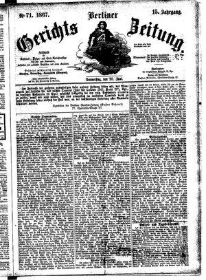 Berliner Gerichts-Zeitung vom 20.06.1867