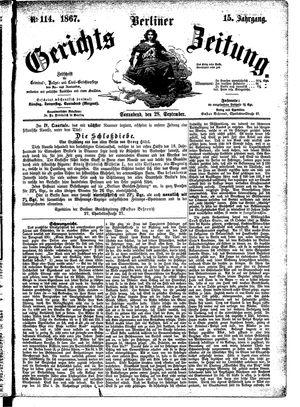 Berliner Gerichts-Zeitung vom 28.09.1867