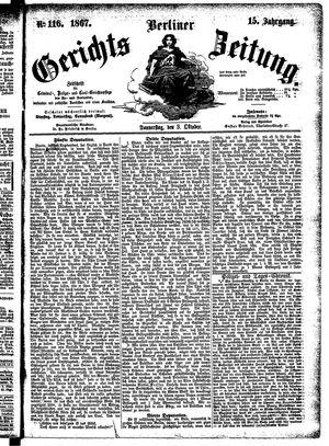 Berliner Gerichts-Zeitung vom 03.10.1867